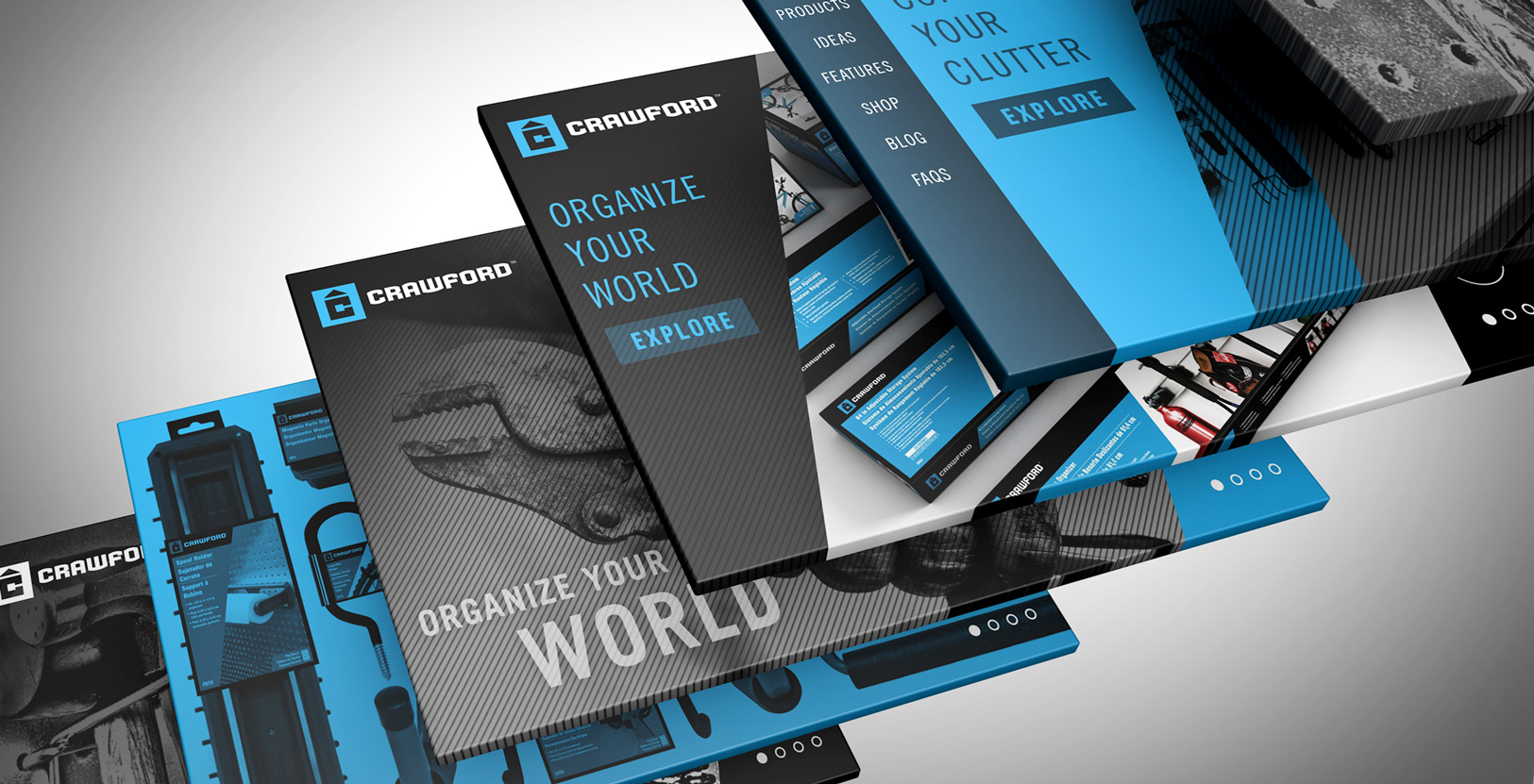crawford-rebrand-identity-app-screen-page-layout-digital-ads-website-graphics-industrial-bold-black-and-blue-cyan-modern-clean-design-retail-graphics-packaging